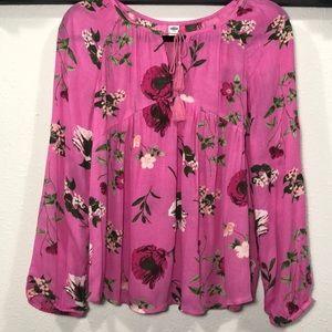 Old Navy • Pink Floral Boho Top